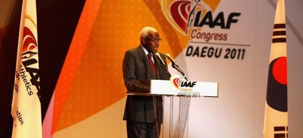Lamine Diack presidente da Federação Internacional de Atletismo (Foto: Divulgação IAAF)
