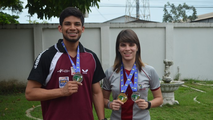Daniel Carvalho; Katisa Lima; Tênis de Mesa; Amapá (Foto: Rafael Moreira/GE-AP)