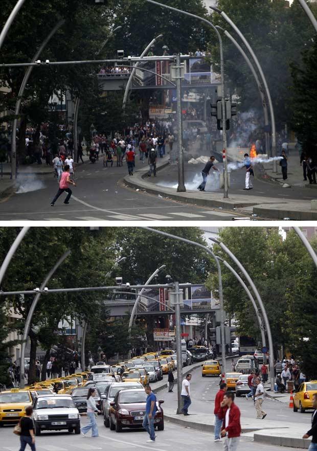 A Praça Kizilay no domingo (acima) e nesta segunda (abaixo) (Foto: Dado Ruvic/Reuters)