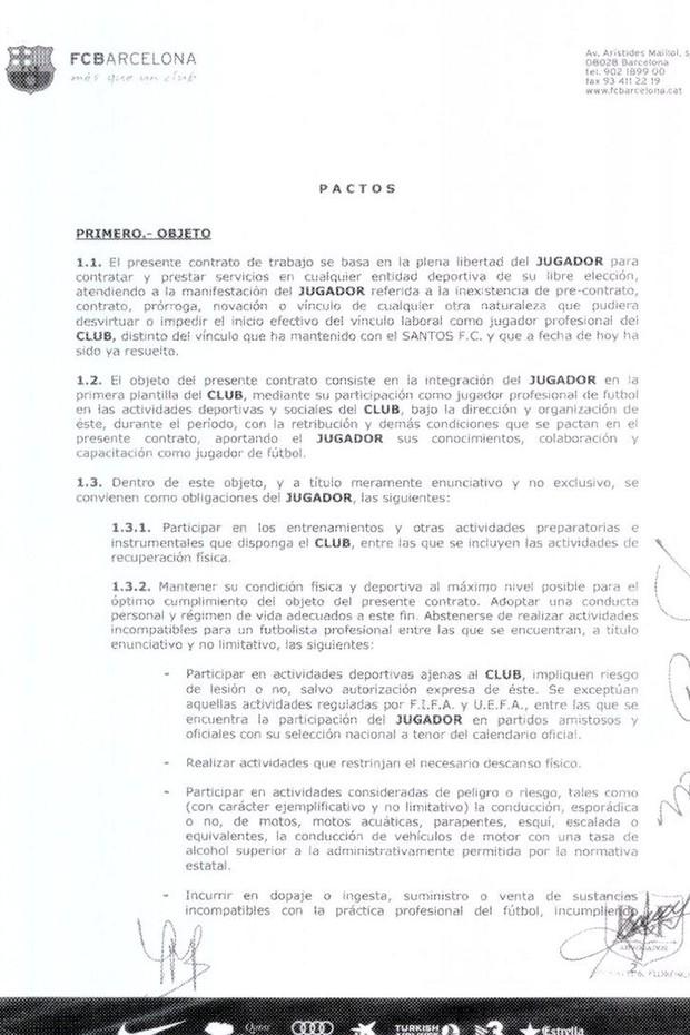 contrato neymar barcelona pagina 2 (Foto: Divulgação)