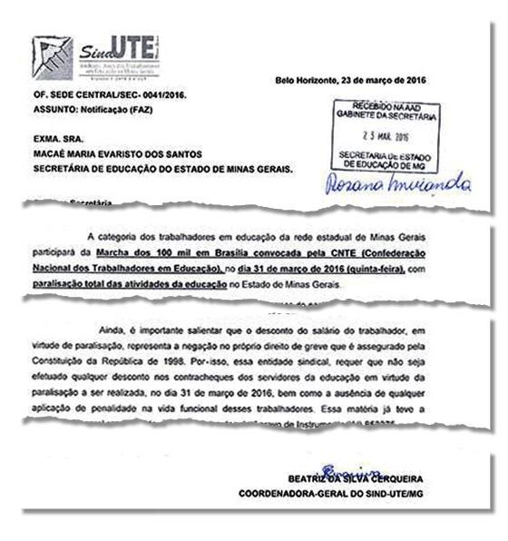 Notificado do Sind-UTE/MG à Secretaria de Educação, pedindo que o dia não seja descontado do salário (Foto: Reprodução)