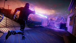 Delsin absorve poderes dos letreiros de neon e dispara contra os inimigos (Foto: Divulgação/Sony)