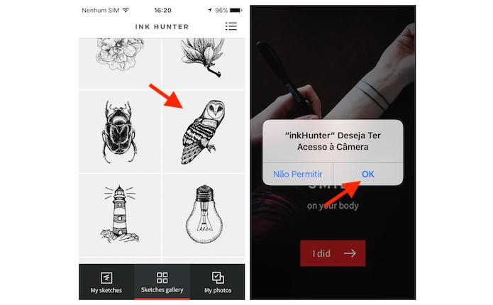 Escolhendo um desenho e fornecendo acesso do InkHunter a câmera do iPhone (Foto: Reprodução/Marvin Costa)