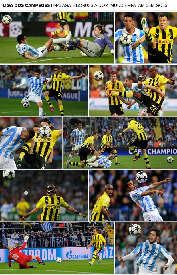 Mosaico - Málaga x Borussia Dortmund (Foto: Editoria de Arte)