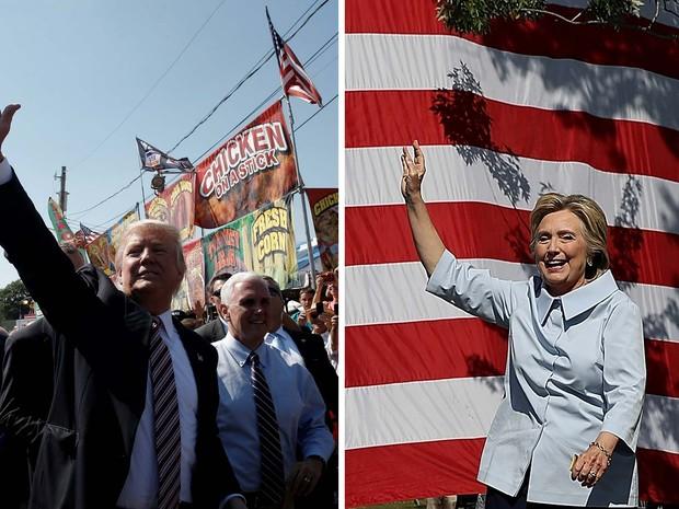 Donald Trump e Hillary Clinton fazem campanha nesta segunda-feira (5) no estado de Ohio, nos Estados Unidos (Foto: REUTERS/Mike Segar e AFP/ Justin Sullivan/ Getty Images North America)