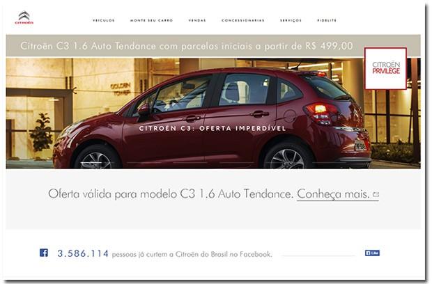 Site da Citroën (Foto: Reprodução)