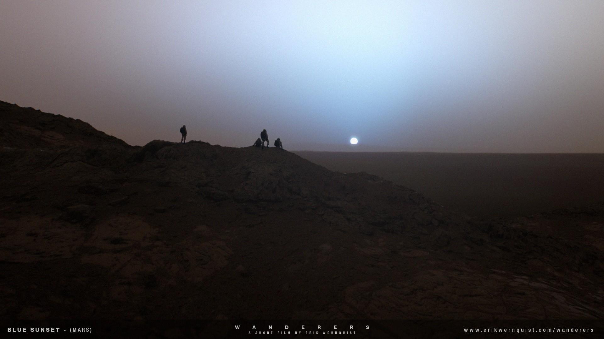 Humanos apreciando o pôr do sol alienígena e azulado de Marte (Foto: Reprodução)