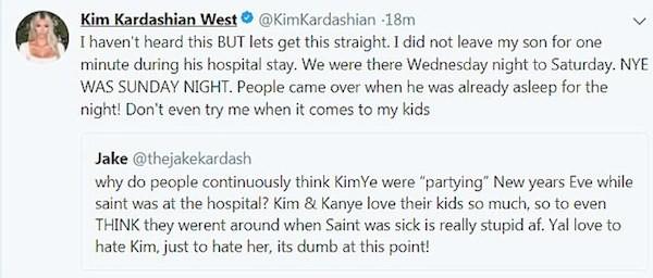 O texto no qual Kim Kardashian expôs sua revolta em relação aos boatos de que teria abandonado o filho no hospital (Foto: Twitter)