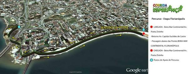 Confira o trajeto da Corrida e Caminhada Esperança em Florianópolis (Foto: Divulgação)