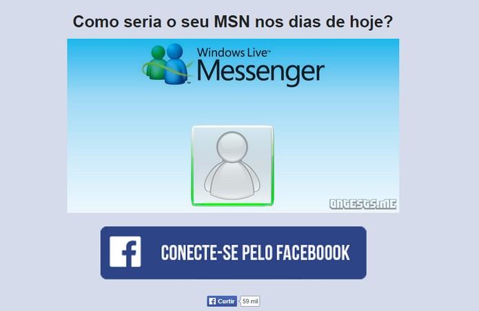 Site da OnTests simula como seria o seu MSN Live Messenger atualmente (Foto: Reprodução/Barbara Mannara)