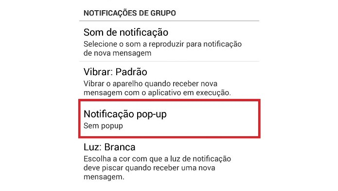 Configurações de Notificações pop-up nos grupos do WhatsApp (Foto: Reprodução/Lívia Dâmaso)