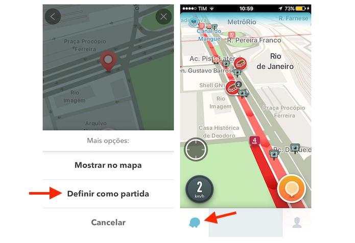 Definindo um local como ponto de partida de uma rota no Waze pelo iPhone (Foto: Reprodução/Marvin Costa)