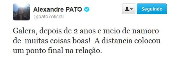 Mensagem do Twitter de Alexandre Pato (Foto: Reprodução)