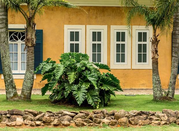 O maciço de guaimbê-ondulado se destaca na fachada desta fazenda com projeto de Odilon Claro, da Anni Verdi (Foto: Edu Castello/Editora Globo)