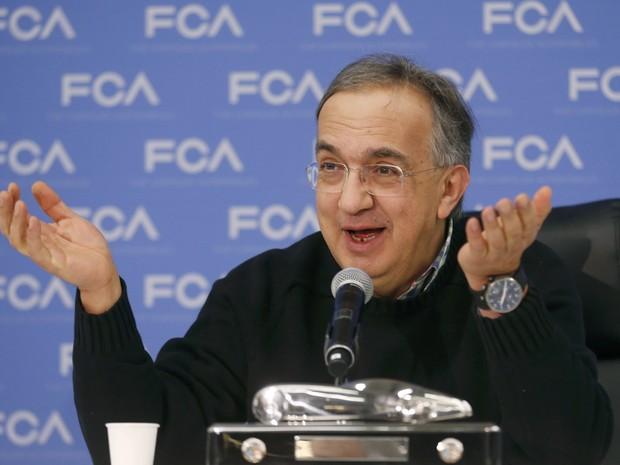 Sergio Marchionne, CEO da FCA, fala durante o Salão de Detroit (Foto: REUTERS/Rebecca Cook)
