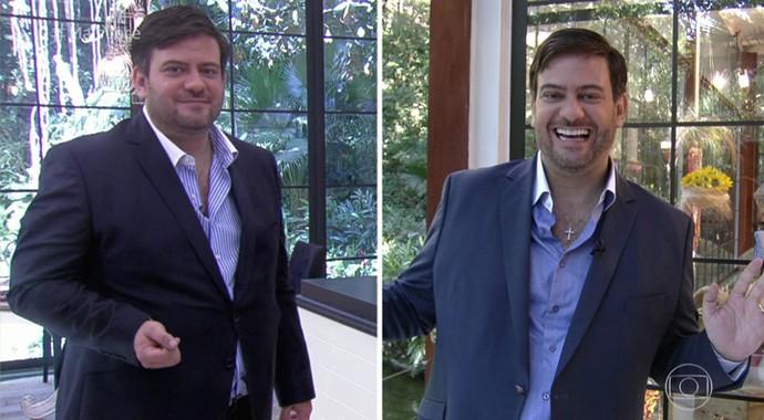 Bruno Astuto: antes e depois da cirurgia bariátrica (Foto: TV Globo)