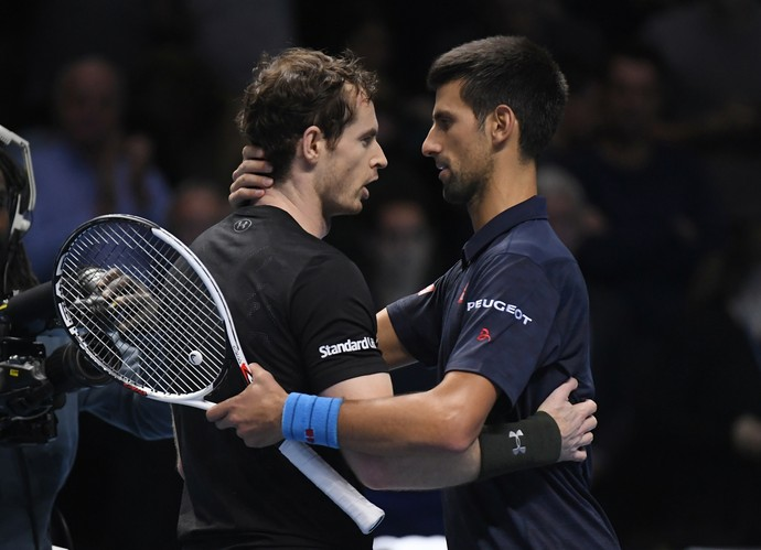 Andy Murray e Novak Djokovic no ATP Finals (Foto: Reuters)