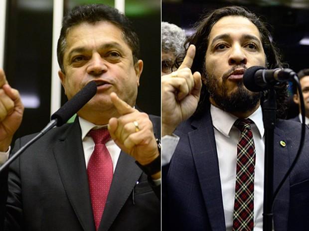 Montagem com os deputados João Rodrigues (PSD-SC) e Jean Wyllys (PSOL-RJ) (Foto: Gustavo Lima/Câmara dos Deputados)