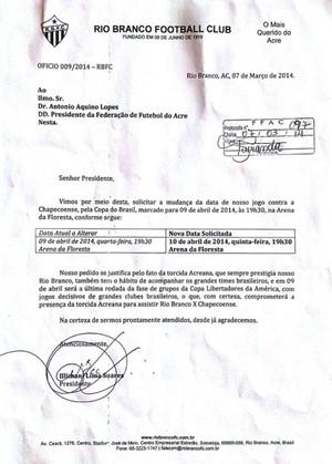 Rio Branco-AC pede para adiar jogo de ida da Copa do Brasil (Foto: Divulgação/Rio Branco FC)