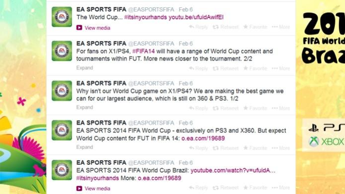 EA Sports confirmou o game apenas para Xbox 360 e PlayStation 3 (Foto: Reprodução/ Twitter)