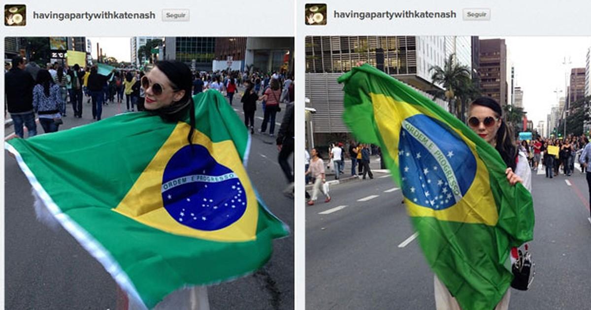 Kate Nash publica fotos de sua participação em protesto em SP; veja