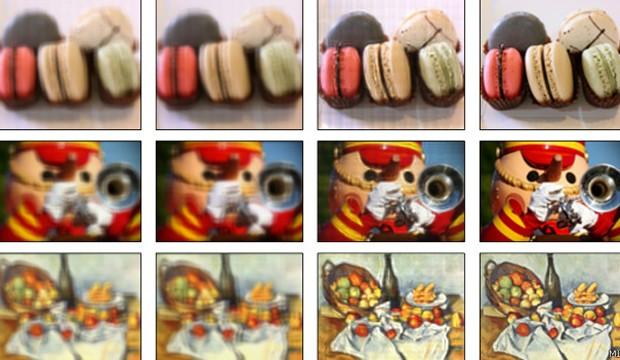 Simulação mostra efeito de tela na definição de imagem (Foto: BBC)