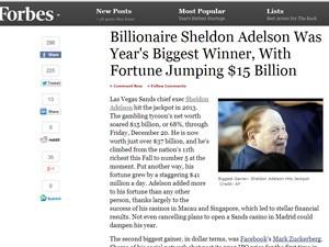 Sheldon Adelson, o homem que mais ganhou dinheiro nos EUA em 2013 (Foto: Reprodução/Forbes)