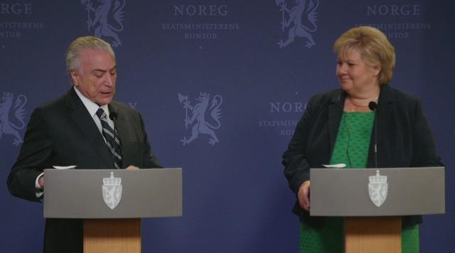 Primeira-ministra da Noruega pressiona presidente Michel Temer sobre combate à corrupção