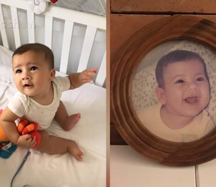Gabriel e Matheus, quando era bebê. Parecidos? (Foto: TV Globo)