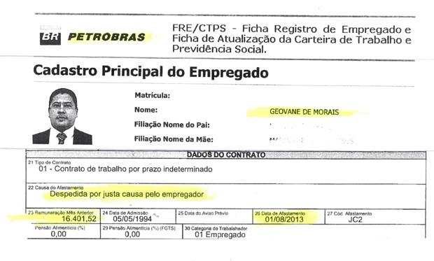A ficha de Geovane de Morais. Ele começou como assistente social na Petrobras e chegou ao cargo de gerente. Foi afastado após surgirem suspeitas de desvio de dinheiro. Recebeu salário por quase cinco anos sem trabalhar, até ser demitido por justa causa (Foto: Reprodução)