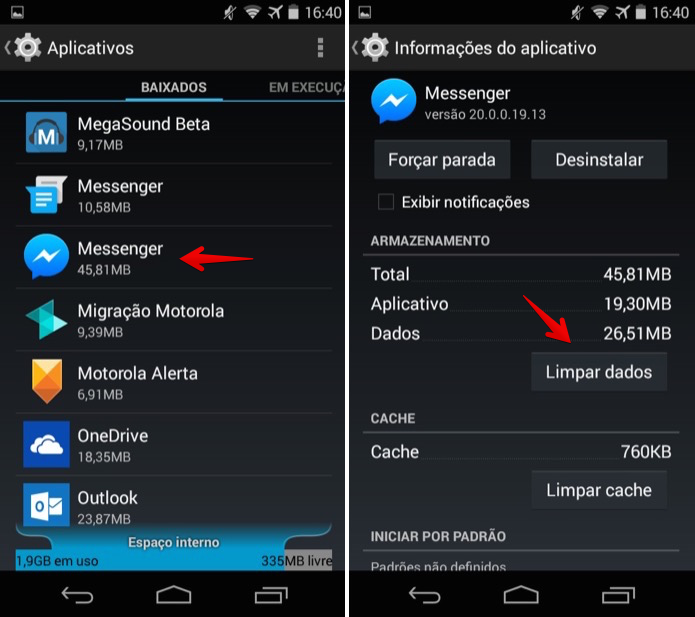 Limpando dados do aplicativo no Android (Foto: Reprodução/Helito Bijora)