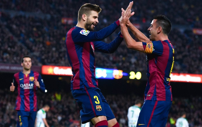 Piqué, Xavi e Busquets Barcelona (Foto: Getty Images)