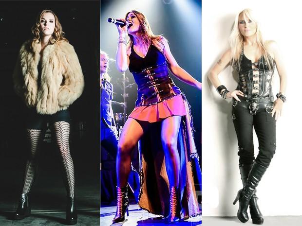 Da esquerda: Lzzy Hale, do Halestorm, Floor Jansen, do Nightwish, e Doro Pesch, atrações do Rock in Rio (Foto: Divulgação / Sites das cantoras)