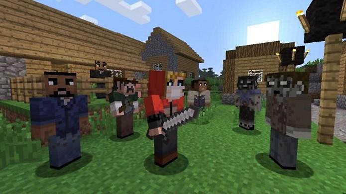 Nada melhor para enfrentar os zumbis de Minecraft do que os personagens de The Walking Dead (Foto: examiner.com)