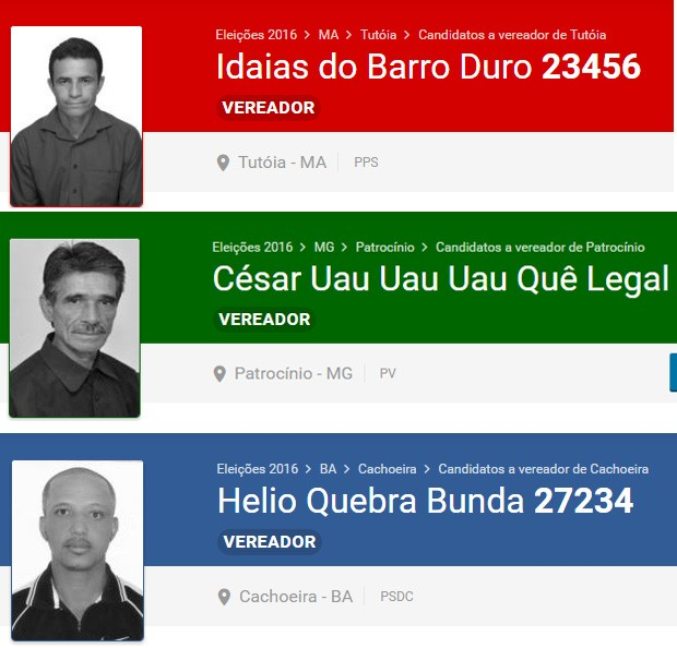 Candidatos com nomes estranhos - A Grande Família (Foto: reprodução / eleicoes2016.com.br)