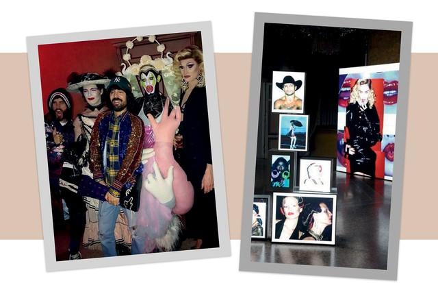 À esquerda, Jared Letto, Alessandro Michele e drag queens na comemoração da Gucci. Ao lado, Fotos da Vogue Itália na festa da revista (Foto: David Zuchnik, David M. Benett/getty Images, Imaxtree, Divulgação e Reprodução Instagram)