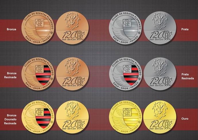 Medalhas Flamengo 120 anos (Foto: Divulgação / Casa da Moeda)