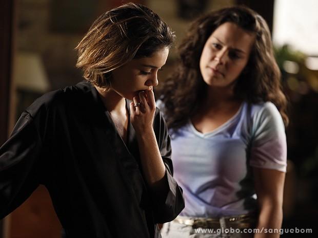 Amora quer dar o troco em Malu e Giane (Foto: Sangue Bom / TV Globo)