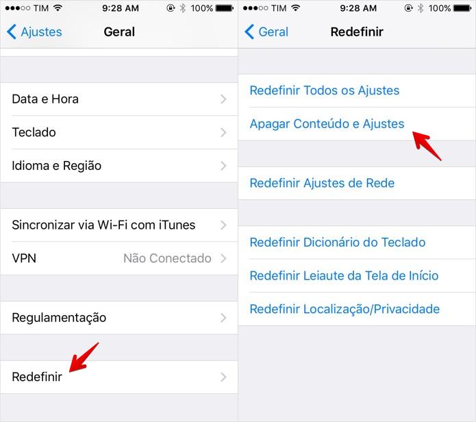 Restaurando configurações de fábrica do iOS (Foto: Reprodução/Helito Bijora)