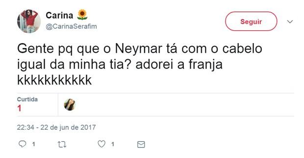 Cabelo de Neymar vira meme (Foto: Reprodução/Twitter)