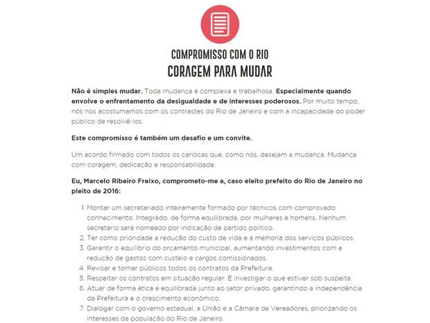 Carta de Freixo foi divulgada no site do candidato (Foto: Reprodução/Site oficial)
