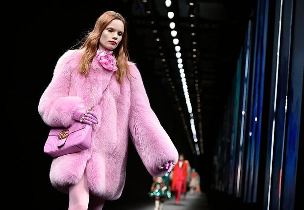 Desfile da Gucci: peles vão perder espaço na passarela (Foto: Catwalking/Getty Images)