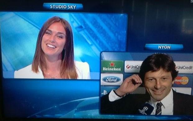 leonardo PSG pede namorada em casamento ao vivo na tv italiana (Foto: Reprodução / SKY)