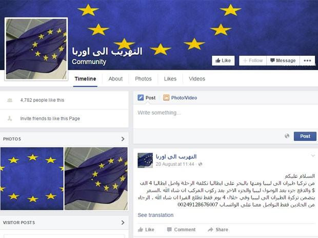 Página em árabe anuncia voo para imigrantes da Líbia para a Turquia (Foto: Reprodução/Facebook/التهريب الى اوربا)