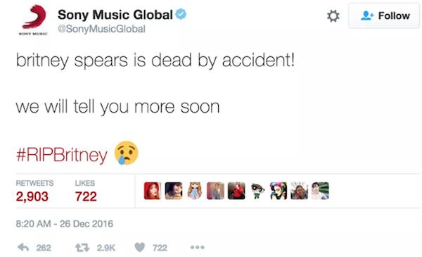 A mensagem noticiando a morte de Briney Spears (Foto: Twitter)
