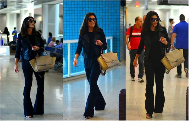 Juliana Paes de bolsa Céline no aeroporto Santos Dumont, no Rio (Foto: William Oda/AGnews)