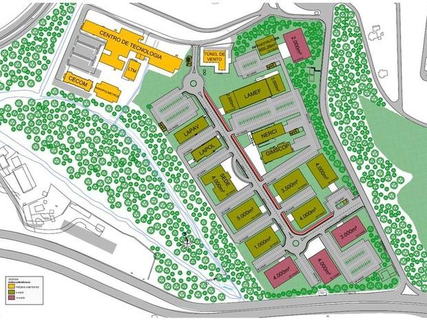UFRGS parque tecnológico planta mapa RS (Foto: Reprodução)