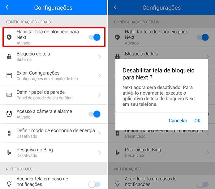 Next Lock Screen pode ser desabilitada em favor da tela de bloqueio do Android (Foto: Reprodução/Elson de Souza)