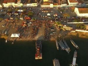 Procissão de Bom Jesus de Navegantes na cidade de Penedo  (Foto: Reprodução/ TV Globo)