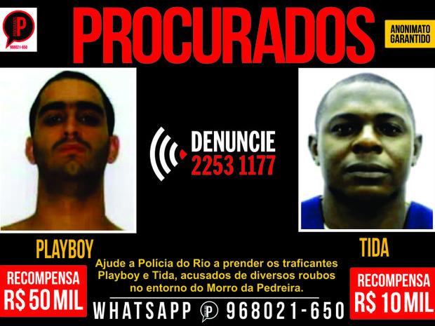 Playboy é o traficante mais procurado do Rio; Tida seria seu braço-direito, segundo a polícia (Foto: Divulgação / Portal dos Procurados)